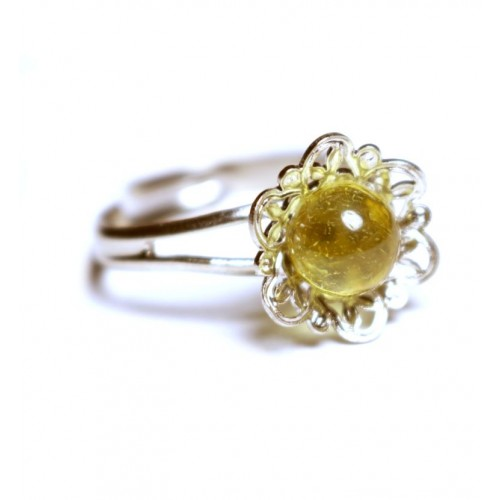 Silver Color Ring With Lemon Baltic Amber adjustable