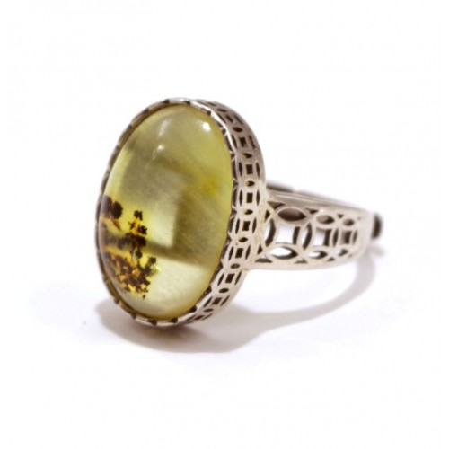 Silver 925 Ring With Lemon Color Baltic Amber Size Adjustable