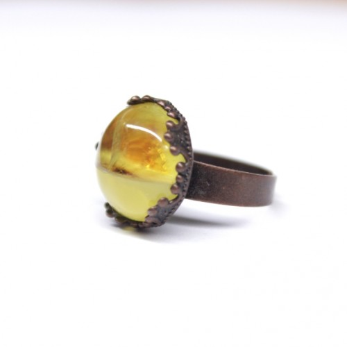 Cooper Ring With Royal Milky And Lemon Color Baltic Amber