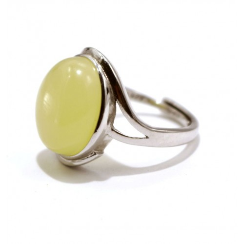 Silver 925 Ring With Butter Color Baltic Amber Size Adjustable
