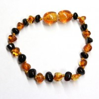 Polished Baroque Style Cognac/Cherry Baltic Amber Teething Bracelet/Anklet