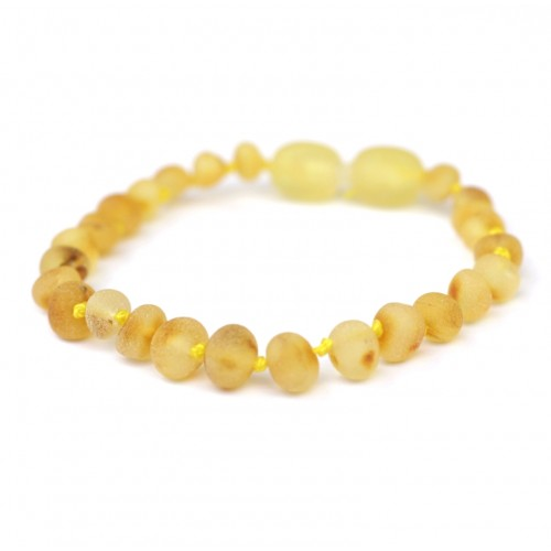 Unpolished Baroque Style Lemon Baltic Amber Teething Bracelet / Anklet