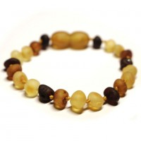 Unpolished Baroque Style Multi color Baltic Amber Teething Bracelet / Anklet