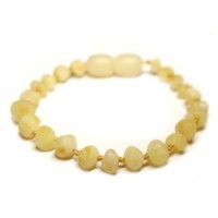 Unpolished Baroque Style Milky Baltic Amber Teething Bracelet/Anklet