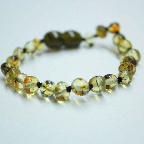 Polished Baroque Style Light Green Baltic Amber Teething Bracelet/Anklet