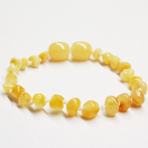 Polished Baroque Style Milky (Royal) Baltic Amber Teething Bracelet/Anklet