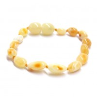 Polished Olive Style ROYAL Milky Baltic Amber Teething Bracelet / Anklet