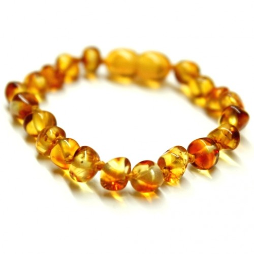 Polished Baroque Style Honey Baltic Amber Teething Bracelet/Anklet