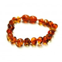 Polished Baroque Style Light Cognac Baltic Amber Teething Bracelet/Anklet