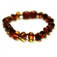 Polished Baroque Style Dark Cognac Baltic Amber Teething Bracelet/Anklet