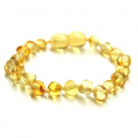 Polished Baroque Style Lemon Baltic Amber Teething Bracelet/Anklet