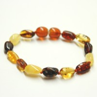 Polished Bean Style Multicolor Amber Baby Teething Bracelet / Anklet