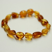 Polished Bean Style Honey Amber Baby Teething Bracelet / Anklet