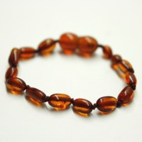 Polished Bean Style Dark Cognac Amber Baby Teething Bracelet / Anklet
