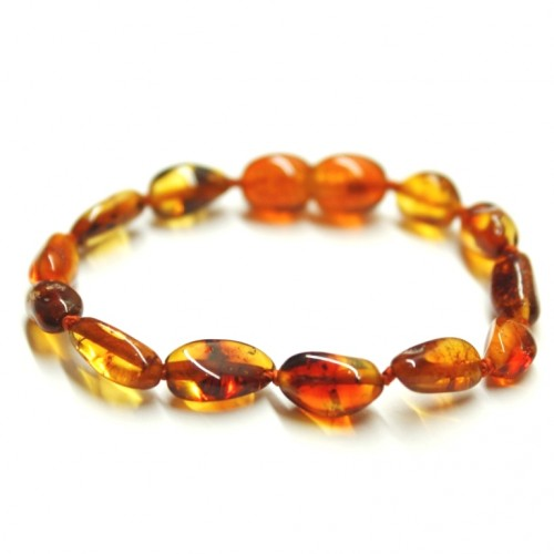 Polished Bean Style Light Cognac Amber Baby Teething Bracelet / Anklet
