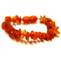 10 pcs Raw Split Style Cognac Teething Bracelet / Anklet Wholesale Bluk