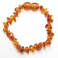 Polished Nuts Style Light Cognac Baltic Amber Teething Bracelet / Anklet