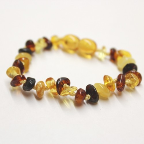 Polished Nuts Style Multicolor Baltic Amber Teething Bracelet / Anklet