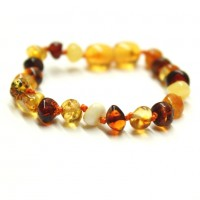 Polished Baroque Style Multicolor Baltic Amber Teething Bracelet/Anklet