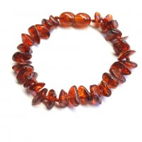 Polished Nuts Style Dark Cognac Baltic Amber Teething Bracelet / Anklet