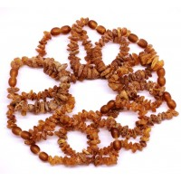 10 pcs Raw Split Style Cognac Teething Bracelet / Anklet Wholesale Bulk