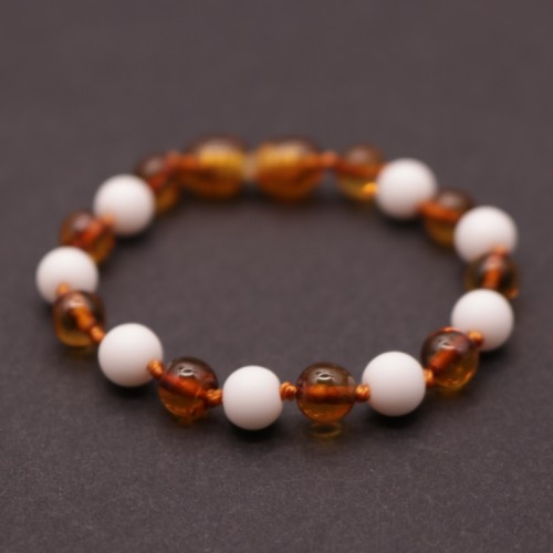 Polished Baroque Style Cognac Baltic Amber Teething Bracelet/Anklet With Onyx