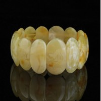 Polished Royal Milky Color Baltic Amber Adult Bracelet 16g