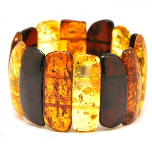 Massive Polished Multicolor Baltic Amber Adult Bracelet