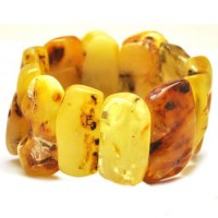 Massive Polished Natural Shape Butter Egg Yolk Baltic Amber Adult Bracelet 88g