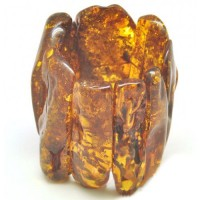 Massive Polished Light Cognac Baltic Amber Adult Bracelet 252g