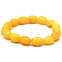 Egg Yolk Color Polished Olive Shape Baltic Amber Adult Elastic Bracelet 8.7g