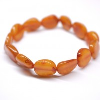 VTG Flat Oval Shape Butterscotch Egg Yolk Antique Color  Baltic Amber Adult Elastic Bracelet