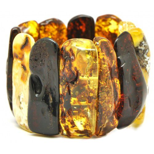 Massive Polished Multi color Baltic Amber Adult Bracelet