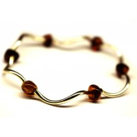 Bracelet With Polished Baroque Style Dark Cognac Baltic Amber