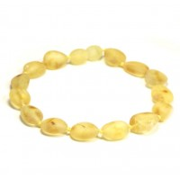 Unpolished Bean Style Lemon Baltic Amber Adult Healing Bracelet