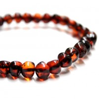 Polished Baroque Style Dark Cognac Baltic Amber Adult / Mom Bracelet