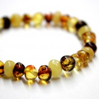 Polished Baraque Style Multicolor Baltic Amber Adult / Mom Bracelet