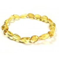 Polished Bean Style Lemon Baltic Amber Adult Bracelet
