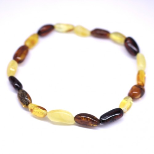 Polished Bean Style Multicolor Baltic Amber Adult Bracelet