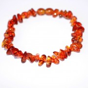 Polished Nuts Style Light Cognac Baltic Amber Adult Elastic Healing Bracelet