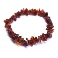 Polished Nuts Style Dark Cognac Baltic Amber Adult Elastic Healing Bracelet