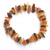 Raw Split Style Multi color Baltic Amber Adult Healing Bracelet Elastic