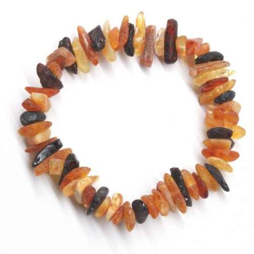Raw Split Style Multicolor Baltic Amber Adult Healing Bracelet Elastic