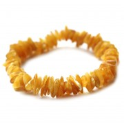 Polished Nugget Butterscotch Egg Yolk Baltic Amber Adult Elastic Healing Bracelet