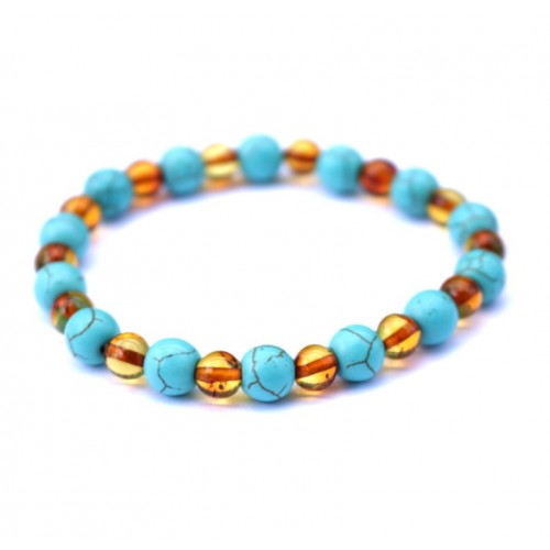 Polished Baroque Style Cognac Baltic Amber Adult Bracelet with Turquoise