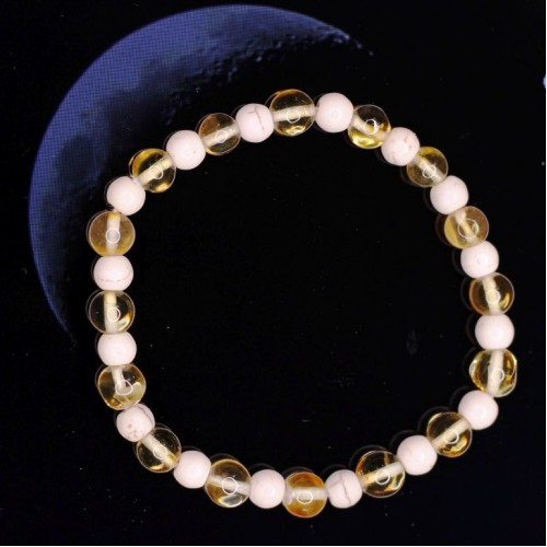 Polished Baroque Style Lemon Baltic Amber Adult Bracelet with Howlite