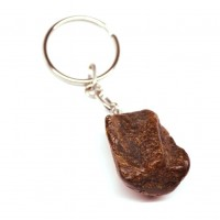 Key-ring with unpolished amber