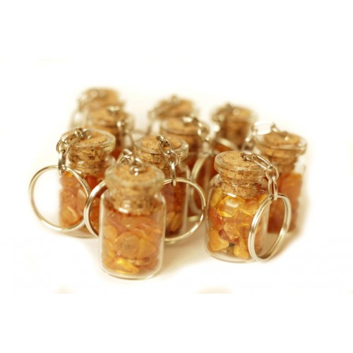 10 pcs Key-ring With Amber In The Bottle