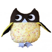 Käthe Kruse cushion Owl yellow - brown