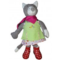 Big Kathe Kruse Cat With Fool Outfit 15.74' Garden Collection